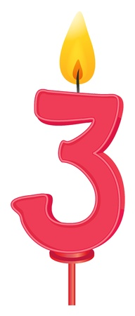 three colors: Illustration of a birthday candle number
