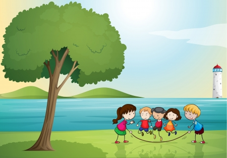 small girl: illustration of kids playing in a beautiful nature Illustration