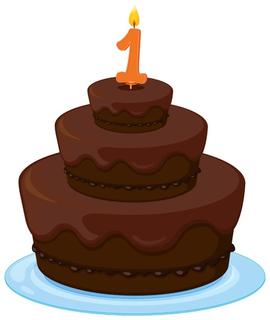 number plate: illustration of a brown birthday cake on a white background