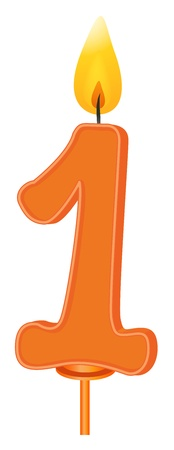 1 object: Illustration of a birthday candle number