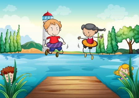 illustration of kids swimming in a beautiful nature Vector