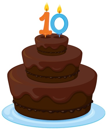 illustration of a brown birthday cake on a white background Vector