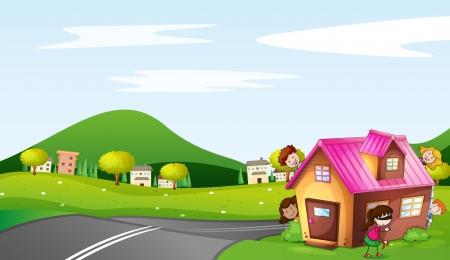 ni�os dibujando: ilustraci�n de los ni�os y una casa en una hermosa naturaleza