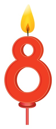 Illustration of a birthday candle number Vector