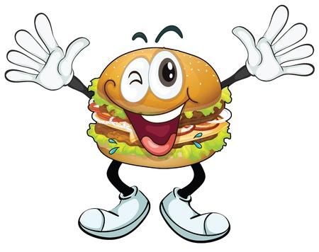 ojos caricatura: Ilustraci�n de una hamburguesa en un fondo blanco