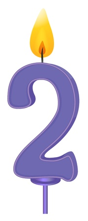 2 objects: Illustration of a birthday candle number