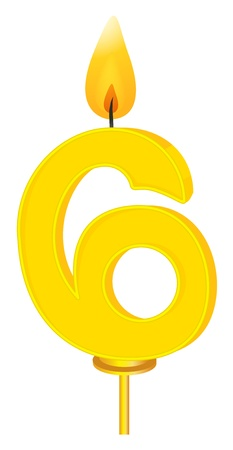 six objects: Illustration of a birthday candle number