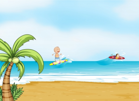 illustration of a beautiful beach  Vector