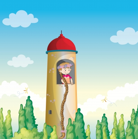 illustration of a girl in a light house Vector