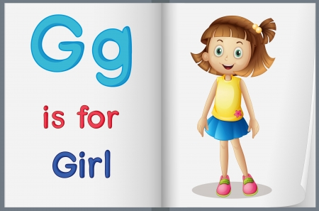 english girl: Illustrated letters and words worksheet