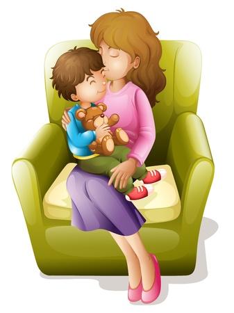 mother: illustrazione di mamma e il suo bambino seduto su una sedia Vettoriali