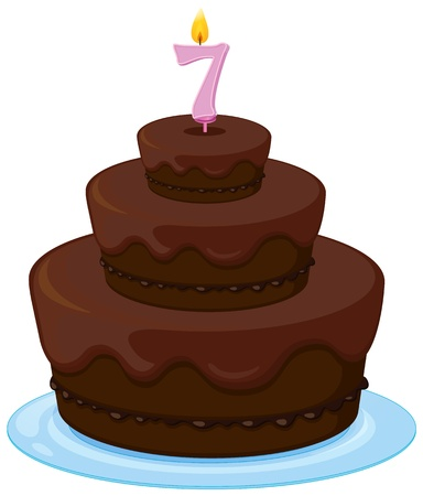 yum: illustration of a brown birthday cake on a white background