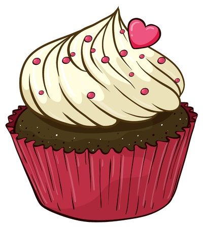 small cake: Illustration of an isolated cupcake