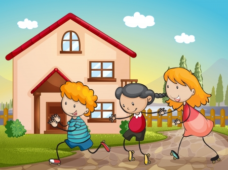 illustration of kids playing infront of a house Vector