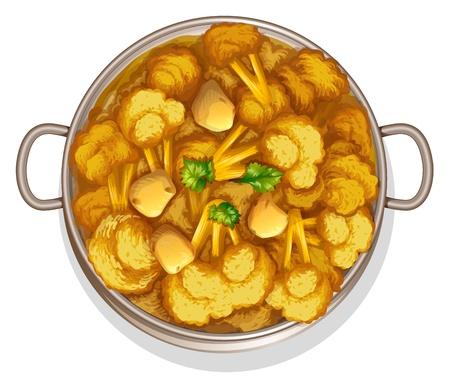 koriander: illusztrációja indiai étel, fehér alapon Illusztráció