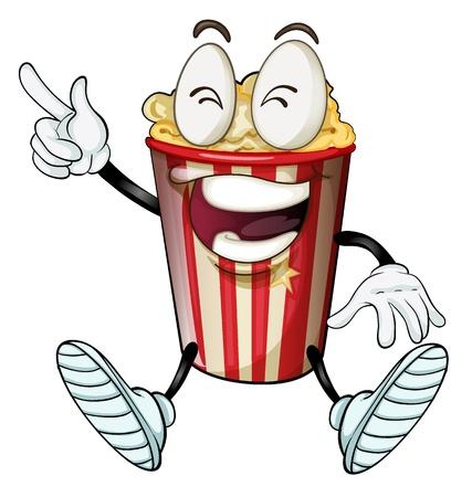 popcorn: illustrazione di un popcorn su uno sfondo bianco Vettoriali