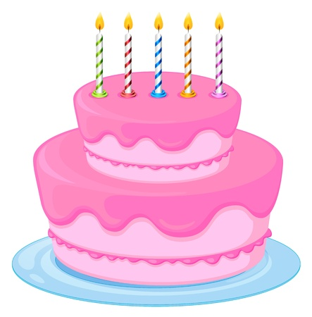 decorated: illustration of a pink birthday cake on a white background