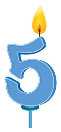 five objects: Illustrazione di un numero di candela di compleanno