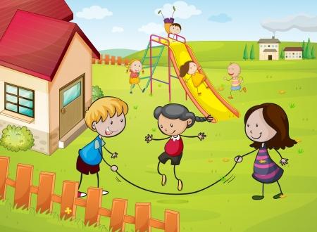 jumping fence: ilustración de los niños y una casa en una hermosa naturaleza