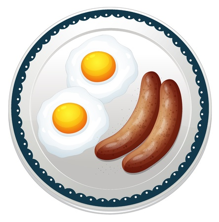 dinner plate: illustration of an egg omelet and sausages on a white background Illustration