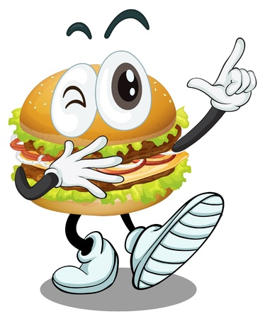 burger cartoon: illustration of a burger on a white background