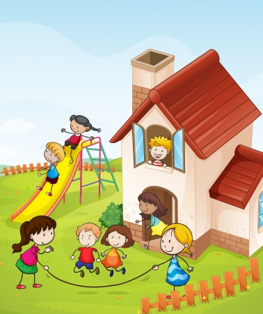 illustration of kids and a house in a beautiful nature Illustration