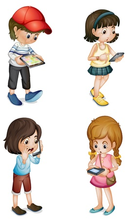 woman cellphone: illustration of four kids on a white background