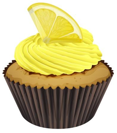 Illustration eines Cupcake auf weißem Hintergrund Vektorgrafik