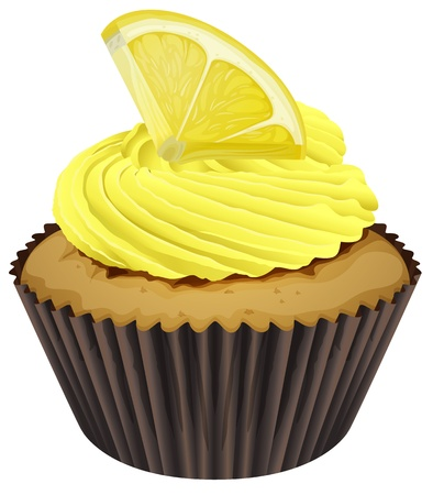 small cake: illustration of a cupcake on a white background