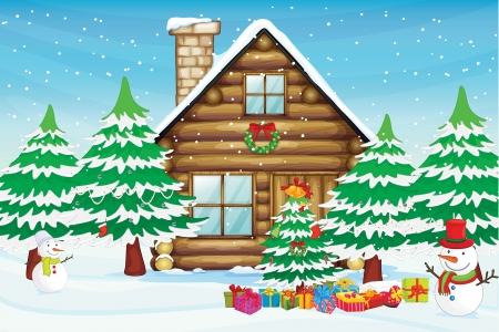 snowfall: illustration of snowmen, a tree and a house in snowfall