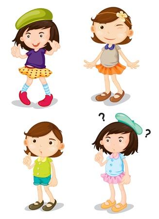 白い背景の上の 4 人の女の子のイラスト  イラスト・ベクター素材