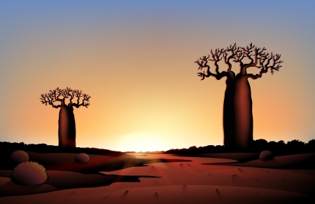 moonrise: illustration of african nature at night Illustration
