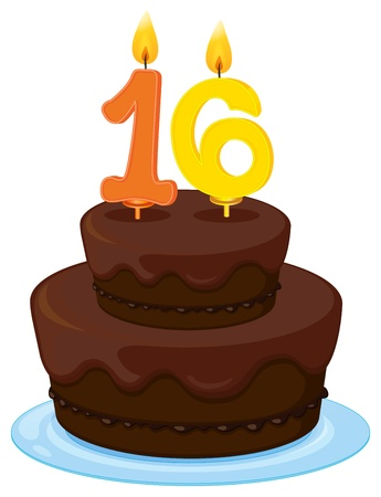 number 16: illustration of a birthday cake on a white background Illustration