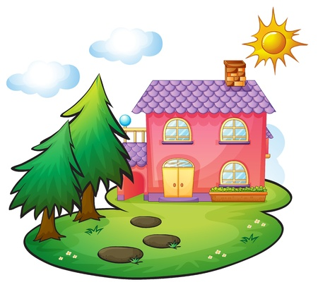 illustration of a house in a beautiful nature Stock Vector - 16188262
