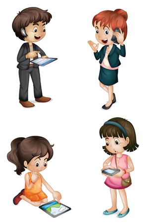 illustration of kids with various activities on a white background Vector