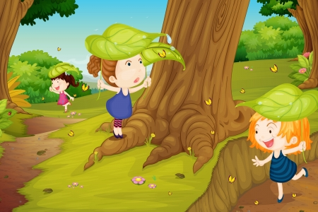 illustration of girls catching butterflies in nature Vector