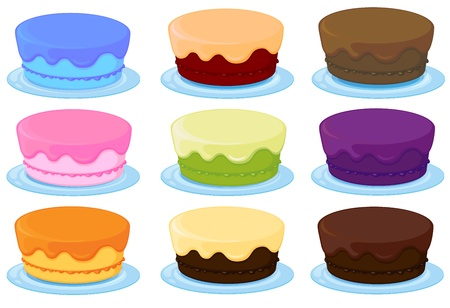 birthday cakes: illustration of birthday cakes on a white background