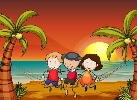 golden dusk: illustration of kids in a beautiful nature