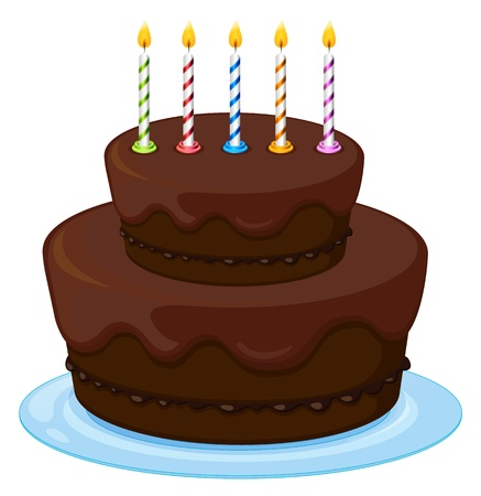 yum: illustration of a birthday cake on a white background Illustration