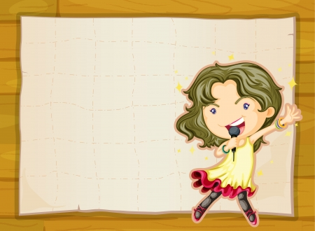 sings: illustration of a girl and a paper sheet on yellow background