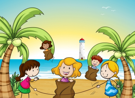 illustration of kids in a beautiful nature Stock Vector - 16188324