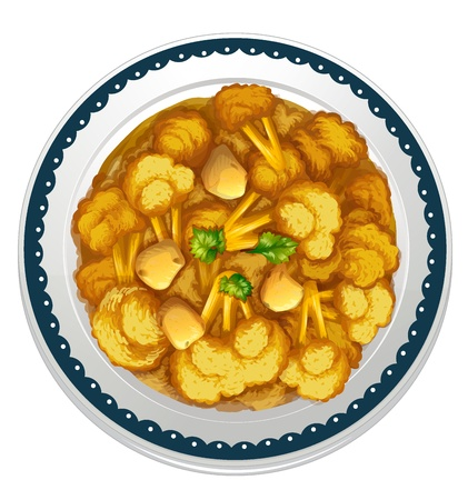 dinner plate: illustration of a vegetarian curry on a white background