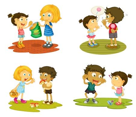talking: illustration des enfants atteints de diverses activites sur un fond blanc Illustration