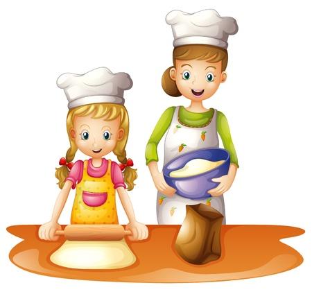 niños cocinando: Ilustración de una madre y una hija en un fondo blanco