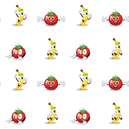 continue: illustration of a banana and a tomato on a white background