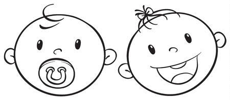 teether: illustration of two baby faces on a white background Illustration