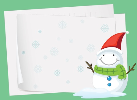 illustration of paper sheets and snowman on a colored background Vector