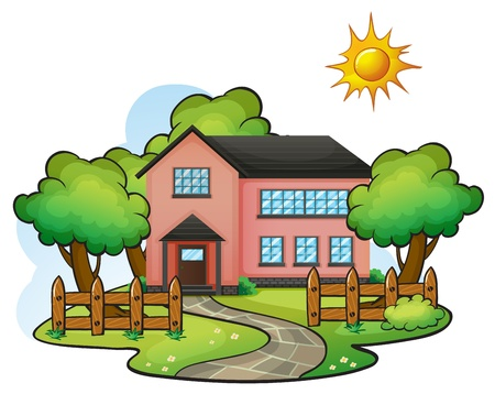 big scenery: illustration of a house in a beautiful nature Illustration