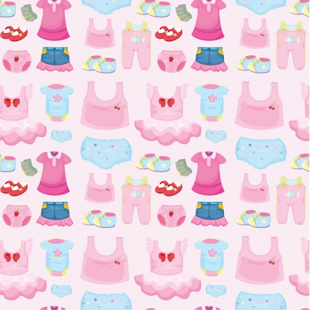 illustration of a baby garments on a pink background Vector