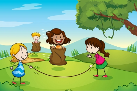 illustration of girls playing in a beautiful nature Vector
